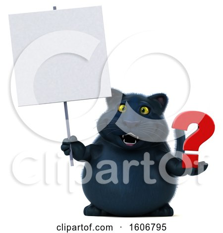 Clipart of a 3d Black Kitty Cat Holding a Question Mark, on a White Background - Royalty Free Illustration by Julos
