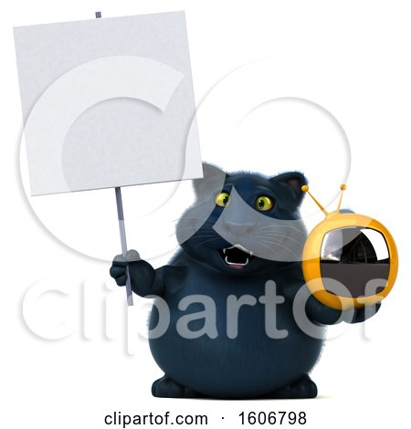 Clipart of a 3d Black Kitty Cat Holding a Tv, on a White Background - Royalty Free Illustration by Julos