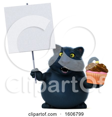Clipart of a 3d Black Kitty Cat Holding a Cupcake, on a White Background - Royalty Free Illustration by Julos