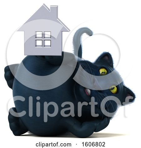 Clipart of a 3d Black Kitty Cat Holding a House, on a White Background - Royalty Free Illustration by Julos
