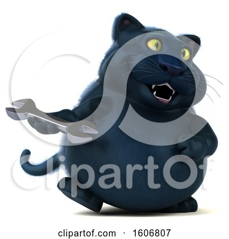 Clipart of a 3d Black Kitty Cat Holding a Wrench, on a White Background - Royalty Free Illustration by Julos