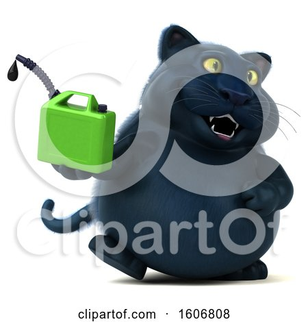 Clipart of a 3d Black Kitty Cat Holding a Gas Can, on a White Background - Royalty Free Illustration by Julos