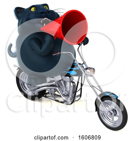 Clipart of a 3d Black Kitty Cat Biker Riding a Chopper Motorcycle, on a White Background - Royalty Free Illustration by Julos