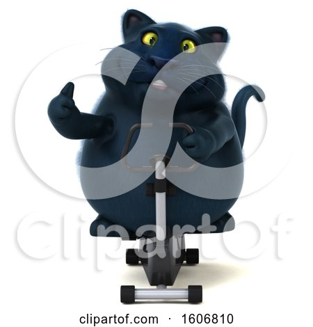 Clipart of a 3d Black Kitty Cat Holding a Spin Bike, on a White Background - Royalty Free Illustration by Julos