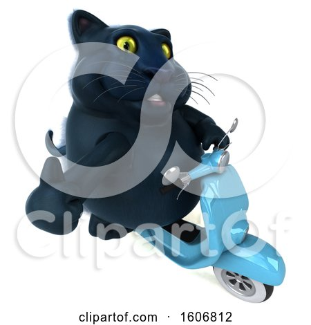 Clipart of a 3d Black Kitty Cat Riding a Scooter, on a White Background - Royalty Free Illustration by Julos