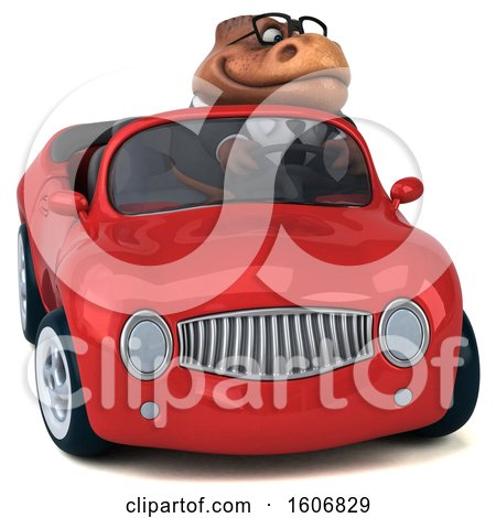 Clipart of a 3d Brown Business T Rex Dinosaur Driving a Convertible, on a White Background - Royalty Free Illustration by Julos