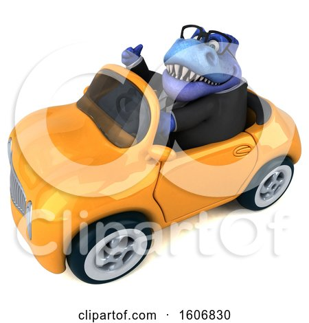 Clipart of a 3d Blue Business T Rex Dinosaur Driving a Convertible, on a White Background - Royalty Free Illustration by Julos