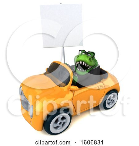 Clipart of a 3d Green Business T Rex Dinosaur Driving a Convertible, on a White Background - Royalty Free Illustration by Julos