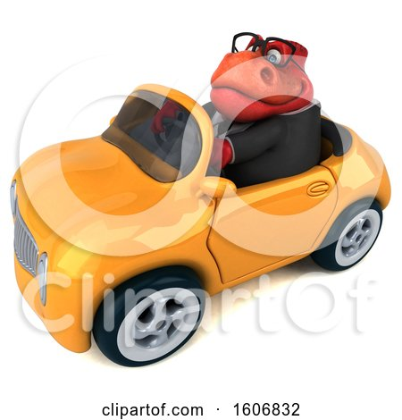 Clipart of a 3d Red Business T Rex Dinosaur Driving a Convertible, on a White Background - Royalty Free Illustration by Julos