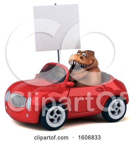 Clipart of a 3d Brown T Rex Dinosaur Driving a Convertible, on a White Background - Royalty Free Illustration by Julos