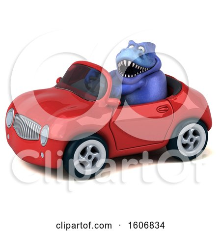 Clipart of a 3d Blue T Rex Dinosaur Driving a Convertible, on a White Background - Royalty Free Illustration by Julos