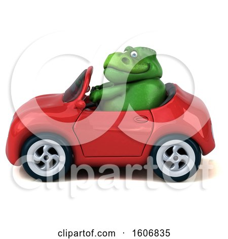 Clipart of a 3d Green T Rex Dinosaur Driving a Convertible, on a White Background - Royalty Free Illustration by Julos