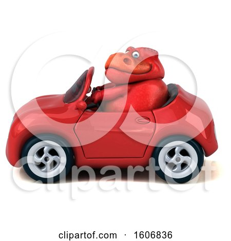 Clipart of a 3d Red T Rex Dinosaur Driving a Convertible, on a White Background - Royalty Free Illustration by Julos