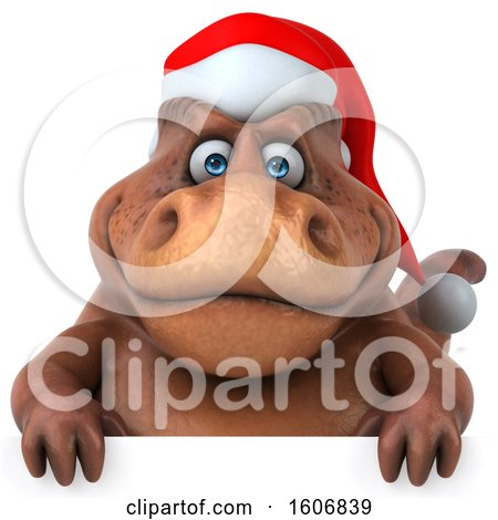 Clipart of a 3d Brown Christmas T Rex Dinosaur, on a White Background - Royalty Free Illustration by Julos