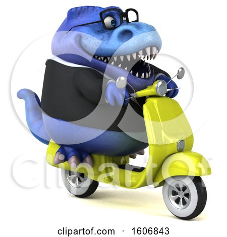 Clipart of a 3d Blue Business T Rex Dinosaur Riding a Scooter, on a White Background - Royalty Free Illustration by Julos