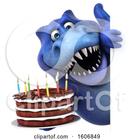 Clipart of a 3d Blue T Rex Dinosaur Holding a Birthday Cake, on a White Background - Royalty Free Illustration by Julos