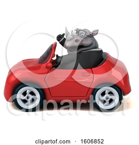 Clipart of a 3d Business Rhinoceros Driving a Convertible, on a White Background - Royalty Free Illustration by Julos