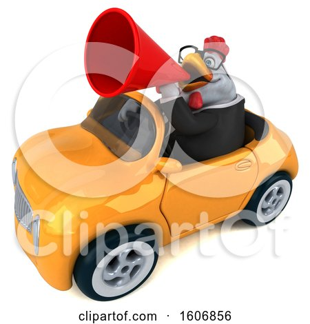 Clipart of a 3d White Business Chicken Driving a Convertible, on a White Background - Royalty Free Illustration by Julos
