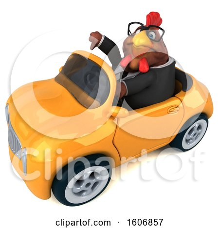 Clipart of a 3d Brown Business Chicken Driving a Convertible, on a White Background - Royalty Free Illustration by Julos