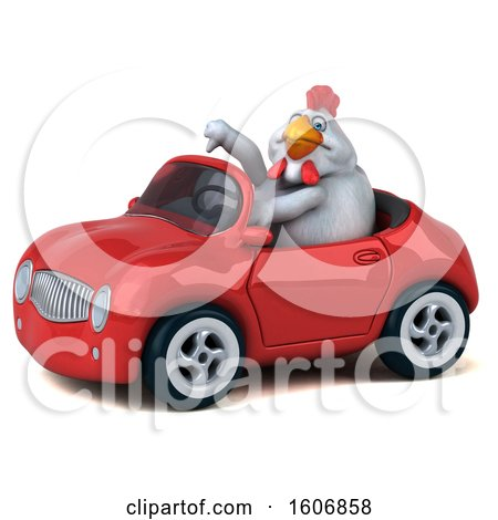 Clipart of a 3d White Chicken Driving a Convertible, on a White Background - Royalty Free Illustration by Julos