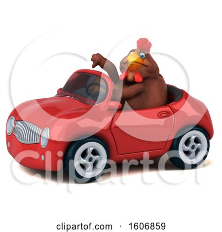 Clipart of a 3d Brown Chicken Driving a Convertible, on a White Background - Royalty Free Illustration by Julos