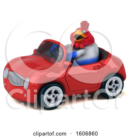 Clipart of a 3d Chubby French Chicken Driving a Convertible, on a White Background - Royalty Free Illustration by Julos