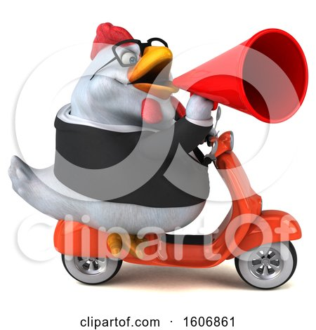 Clipart of a 3d White Business Chicken Riding a Scooter, on a White Background - Royalty Free Illustration by Julos