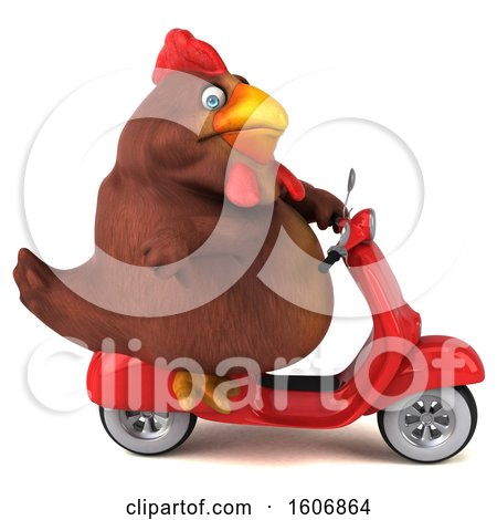 Clipart of a 3d Chubby Brown Chicken Riding a Scooter, on a White Background - Royalty Free Illustration by Julos