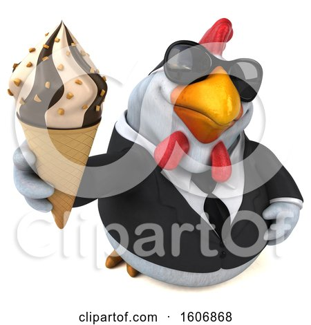 Clipart of a 3d White Business Chicken Holding a Waffle Cone, on a White Background - Royalty Free Illustration by Julos
