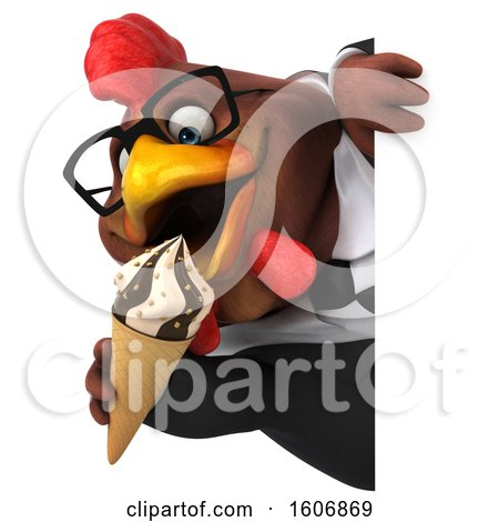 Clipart of a 3d Brown Business Chicken Holding a Waffle Cone, on a White Background - Royalty Free Illustration by Julos