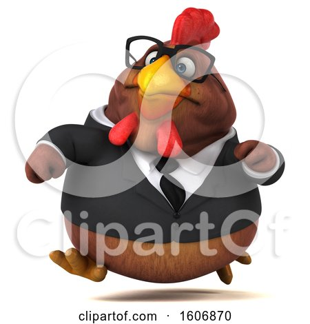 Clipart of a 3d Brown Business Chicken Running, on a White Background - Royalty Free Illustration by Julos
