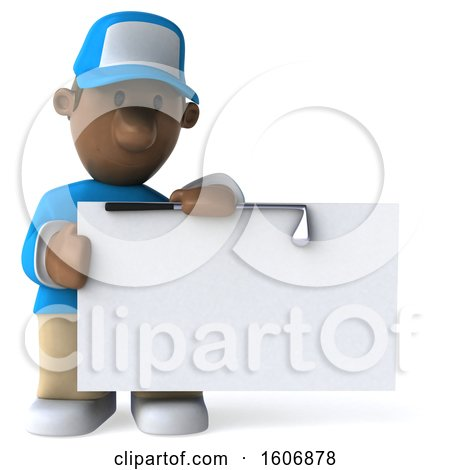Clipart of a 3d Black Male Golfer Holding a Sign, on a White Background - Royalty Free Illustration by Julos