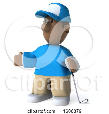 Clipart of a 3d Black Male Golfer, on a White Background - Royalty Free Illustration by Julos
