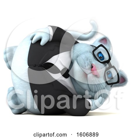 Clipart of a 3d White Business Kitty Cat Relaxing, on a White Background - Royalty Free Illustration by Julos