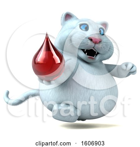 Clipart of a 3d White Kitty Cat Holding a Blood Drop, on a White Background - Royalty Free Illustration by Julos