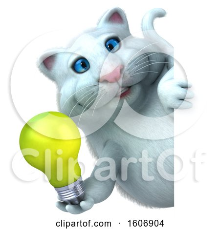 Clipart of a 3d White Kitty Cat Holding a Light Bulb, on a White Background - Royalty Free Illustration by Julos