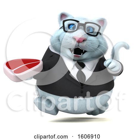 Clipart of a 3d White Business Kitty Cat Holding a Steak, on a White Background - Royalty Free Illustration by Julos