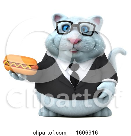 Clipart of a 3d White Business Kitty Cat Holding a Hot Dog, on a White Background - Royalty Free Illustration by Julos