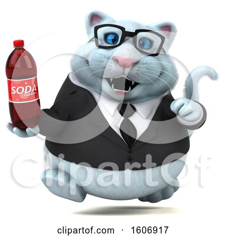 Clipart of a 3d White Business Kitty Cat Holding a Soda, on a White Background - Royalty Free Illustration by Julos