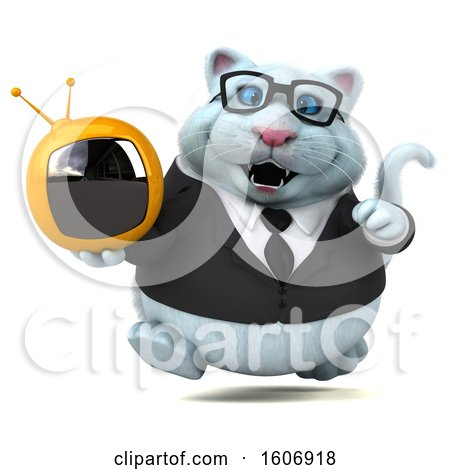 Clipart of a 3d White Business Kitty Cat Holding a Tv, on a White Background - Royalty Free Illustration by Julos