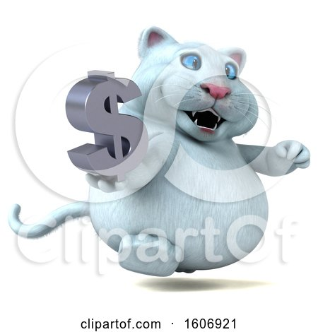Clipart of a 3d White Kitty Cat Holding a Dollar Sign, on a White Background - Royalty Free Illustration by Julos