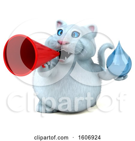 Clipart of a 3d White Kitty Cat Holding a Water Drop, on a White Background - Royalty Free Illustration by Julos