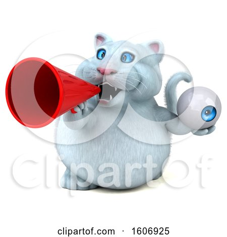 Clipart of a 3d White Kitty Cat Holding an Eyeball, on a White Background - Royalty Free Illustration by Julos