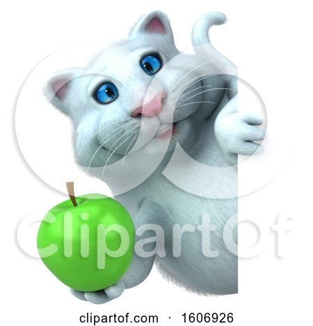 Clipart of a 3d White Kitty Cat Holding an Apple, on a White Background - Royalty Free Illustration by Julos