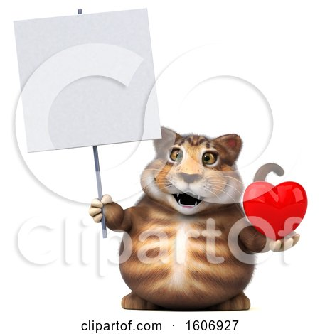 Clipart of a 3d Tabby Kitty Cat Holding a Heart, on a White Background - Royalty Free Illustration by Julos