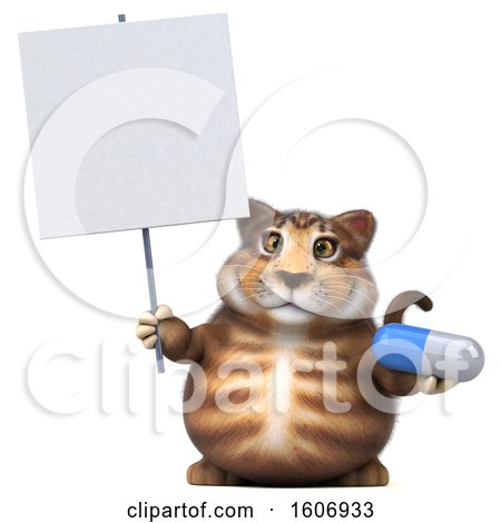 Clipart of a 3d Tabby Kitty Cat Holding a Pill, on a White Background - Royalty Free Illustration by Julos