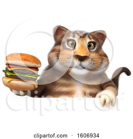 Clipart of a 3d Tabby Kitty Cat Holding a Burger, on a White Background - Royalty Free Illustration by Julos