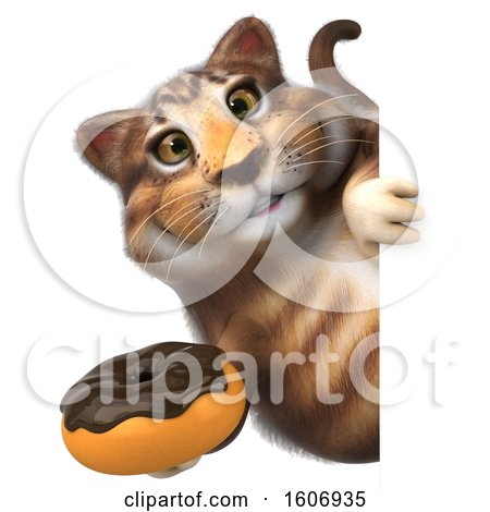 Clipart of a 3d Tabby Kitty Cat Holding a Donut, on a White Background - Royalty Free Illustration by Julos