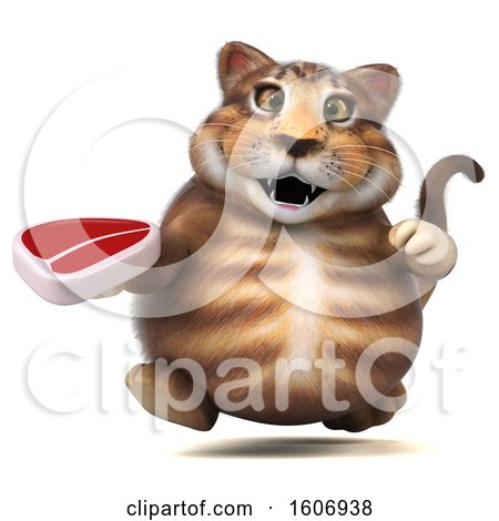 Clipart of a 3d Tabby Kitty Cat Holding a Steak, on a White Background - Royalty Free Illustration by Julos
