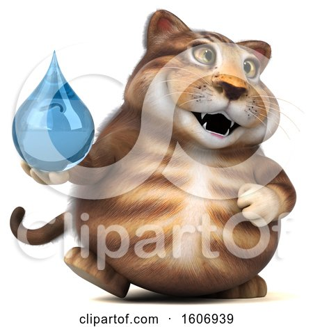 Clipart of a 3d Tabby Kitty Cat Holding a Water Drop, on a White Background - Royalty Free Illustration by Julos